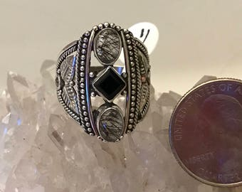 Black Tourmalinated Quartz  and Onyx Ring, Size 9 1/2