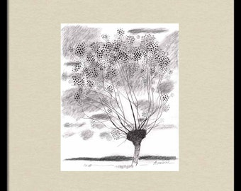 Print of LANDSCAPE DRAWING, tree ink drawing, rectangular drawing, fine line tree drawing, tree sketch, tree drawing modern, drawing print