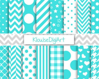 Turquoise Blue and White Digital Printable Papers for Personal and Small Commercial Use (0046)