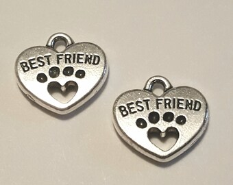 Paw Print Charms - 10 pcs. - Best Friend Charm - Heart Paw Print - Silver Paw Prints - Silver Dog Charms - Animal Charms -  Dog Paw Charms