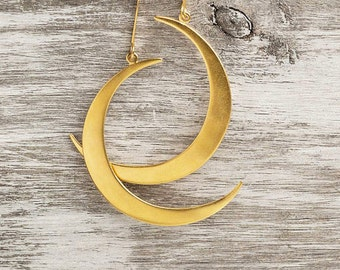 Gold Crescent Moon Earrings Dangle Gold Sterling Silver Statement sale for her christmas moon jewelry gift teen mom girlfriend lunar unique