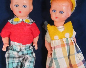 Vintage Plastic Celluloid Twin Dolls Little Sailors Made in Italy (?)