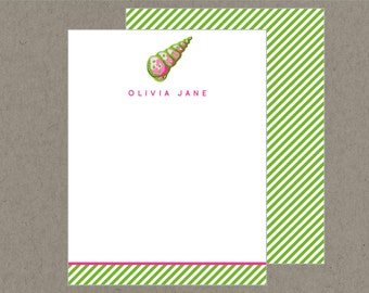 Set 20 Preppy Personalized Flat Note Cards with Envelopes - Pink and Green Sea Shell -  Social Stationery