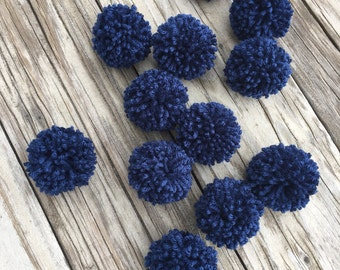12 Soft Navy Blue Yarn Pom Poms, Craft Supplies, Party Decor