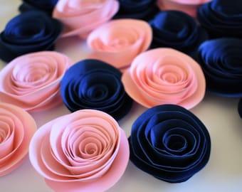 Navy Blue and Blush Pink Decor, Paper Roses, Wedding Decor