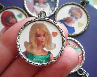 Vintage Barbie Necklace - Classic Barbie + Red Heart Pendant Jewelry Gift for Her - Iconic Barbie Cameo Upcycled Paper Retro Charm Necklace