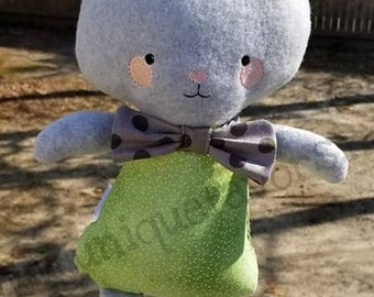 """Handmade Bunny Doll 18.5"""" or 15"""" with optional accessories! Boy & Girl versions available! Each is unique, one of a kind! Fully washable!"""