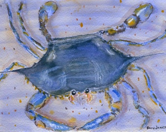 Blue Crab - 5 X 7 inch Limited Edition Giclee Print of Original Watercolor Painting - BRJ