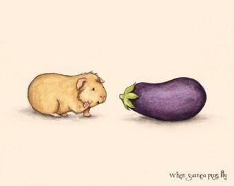How do you do - Guinea pig with eggplant guinea pig art print