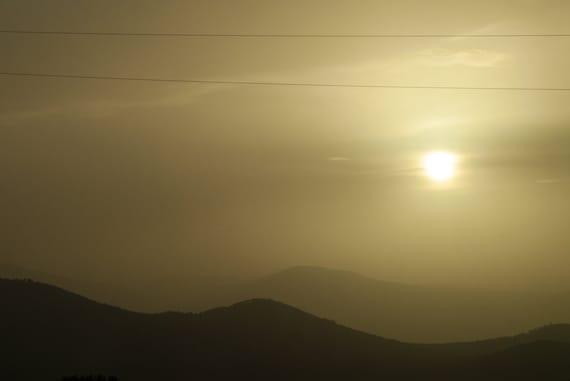 Mountain Photo, Landscape Photograph, Foggy Hills, Fine Art Photograph, print, Cabin Wall Art, Yellow Brown, 5x7 8x10