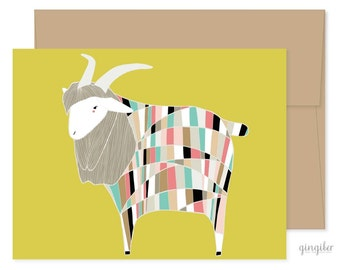 Goat Greeting Card, Blank Goat Card, Goat Celebration Card, Just Because Card, Happy Mail, Encouragement Card, Baby Card, Blank Card