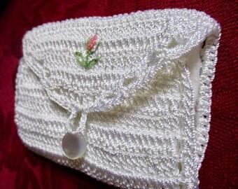 Vintage Silk Crochet Needle Case Handcrafted 9 x 6 cm cute