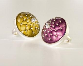 Emaille Schmuck, Emaille-Ring, Silberring, Emaille Charm Ring, handgemachter Ring, Ring der Frauen