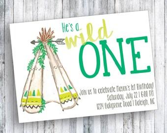 Wild One - 1st Birthday Invitation - He's a Wild One