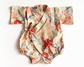 Handmade kimono romper, baby kimono, baby jinbei, new baby gift, newborn gift, japanese outfit, gender neutral baby clothes, baby shower