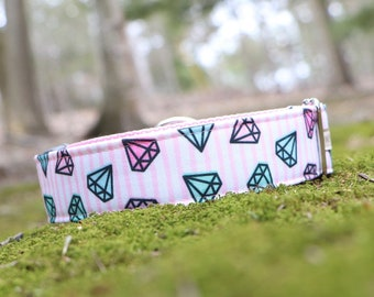Diamond Dog Collar in ECO Canvas Buckle Collar in Pink for Girl/Boy Dog PLEASE READ Item Details