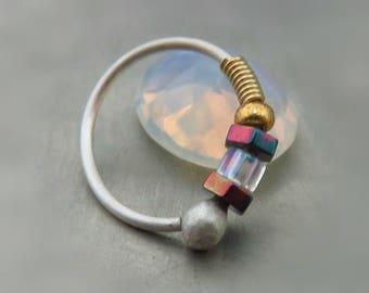 Nose Ring hoop - Gold Nose ring - Beaded nose hoop - Hoop cartilage earring