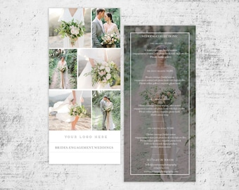 Pricing guide Rack card for photographers-Studio templates-wedding photography pricing guide-instant download