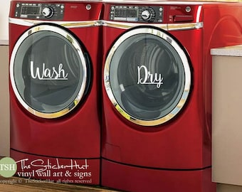 Wash Dry Decals - Laundry Room Decor - Vinyl Lettering - Removeable - Washer Dryer Decor - Wall Art Words Text Door Sticker Decal 1889
