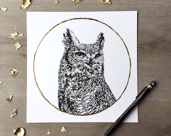 Owl Cold Moon December -Print of an Original Graphite Drawing with Gold Leaf - Animal Portrait Owl Print Horned Owl