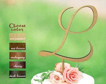 L Cake Topper, cake topper for wedding, wedding cake topper, initial cake topper, monogram cake topper wedding , cake topper l, CT#102