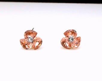 bridal earrings wedding jewelry bridesmaid gift triple teardrop stud post gold earrings with swarovski vintage rose fancy rhinestone crystal