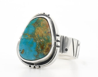 Turquoise Ring, Natural Turquoise, Evans Turquoise, Handmade Ring, Sterling Silver , Turquoise Jewelry, Made In USA, Polychrome Turquoise