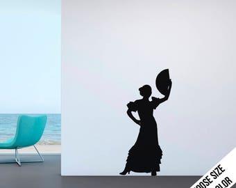 Flamenco Dancer Wall Decal - Spanish Dancing - Vinyl Sticker