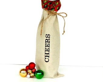 Christmas wine bag, Cheers, wine tote bag, wine sleeve bag, BYOB, Christmas wine, wine totes, hostess gift, wine gift bag