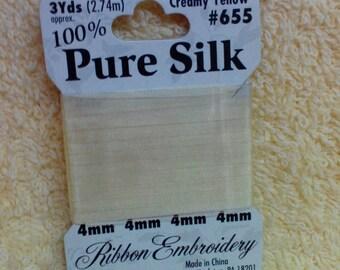 Silk  Ribbon for Embroidery, Creamy Yellow,, 3 yards, 100% Silk Ribbon,Bucila, Vintage