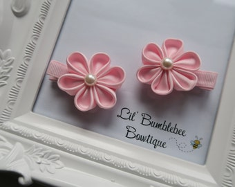 Kanzashi flower hair clips set, handmade flower hair clips set for girls, toddlers or babies-1 pair