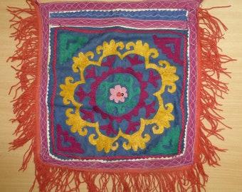 vintage uzbek nomadic textile hand embroidery oyna halta suzani mirror decoration for yurt 14 x 14 #140