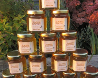 30 Honey Favors - Pure Raw Summer Honey - 2 oz labeled glass honey jars
