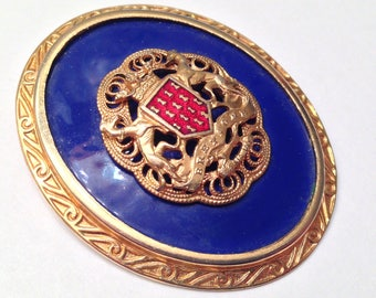 Bretagne A Ma Vie Blue Enamel Maltese Cross Heraldic Crest Brooch Pin