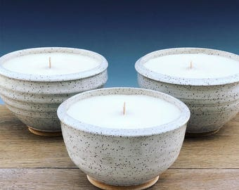 Ceramic Candle Bowl (White with Speckles)