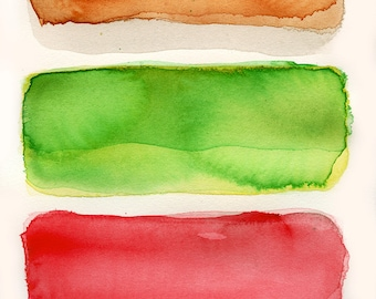 Large Giclee print, Abstract Art, original watercolor, Large wall art, bacon brown, green, red, color field painting original art