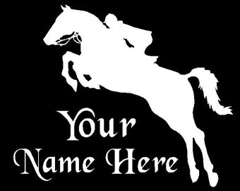 Jumping Horse Hunter Jumper Vinyl Decal Sticker YOU PERSONALIZE Name and Color