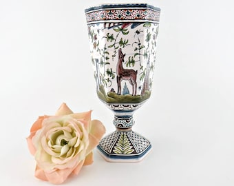 Vintage Estrela De Conimbriga Portugal Art Pottery Vase Hand Painted Deer Flora Castle Artist Signed