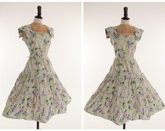 Vintage original 1950s 50s green floral print tiered cotton dress UK 10 US 6 S
