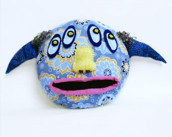 Cute, Whimsical Stuffed Monster Pillow - Unique - Handmade