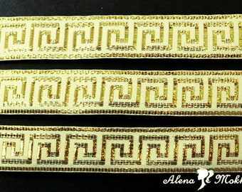 "5 yards 7/8""  Gold Greek Key On Ivory Background Woven Grosgrain Ribbon"