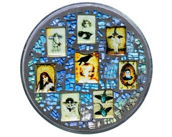 Just Plain Gothic Glass Mosaic Plate - Creatures that Come Out in the Blue of Night