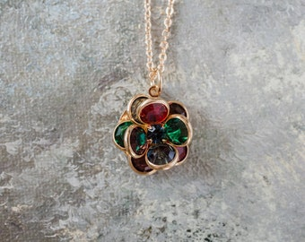 Vintage Flower Pendant Jewel Color Crystals 18k Yellow Gold Electroplated N596