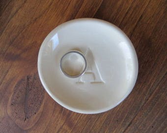 ring dish, Monogram ring holder, jewelry dish, Custom initial tray,  Gift Boxed, IN STOCK
