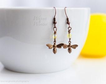 NEW! Bee earrings copper drop dangle, bumble bee earrings, yellow & gold drop bee earings spring and summer jewelry, honey bee dangle
