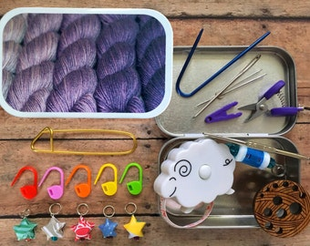 Purple Ombre - knit kit metal tin with knitting notions