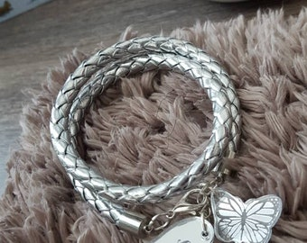 Silver color bracelet with engraved charms, Bracelet with heart and butterfly personalized pendant