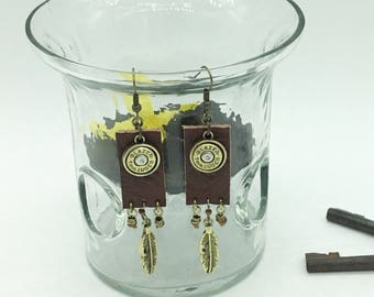 Leather Bullet Earrings With Brass 9 mm Bullets And Charms Option Add Swarovski Crystals