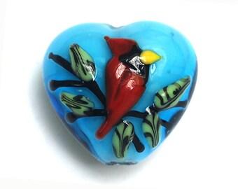 Summer Red Cardinal Heart Focal Bead -11834505-Handmade Glass Lampwork Bead