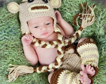 Sock Monkey Set- MADE to ORDER- photo prop, hat, leggings and diaper cover